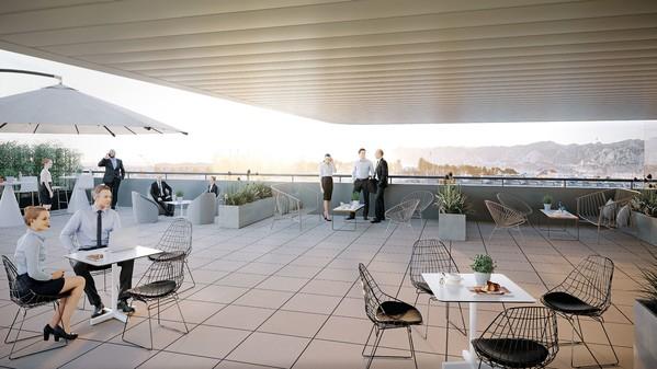 Terrasse avec vue sur mer - Immeuble d'entreprise avec accès centre ville de Marseille