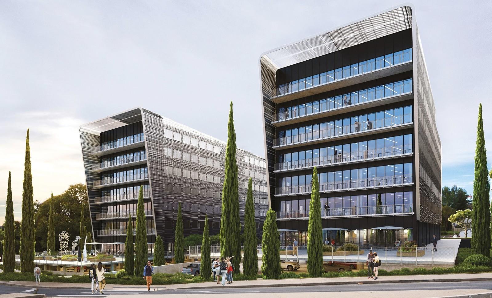NÉOS 1 et 2 est un ensemble de deux immeubles de bureaux en R+6 développant 5.585 m²